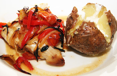 Roasted Cod with Tomatoes and Peppers