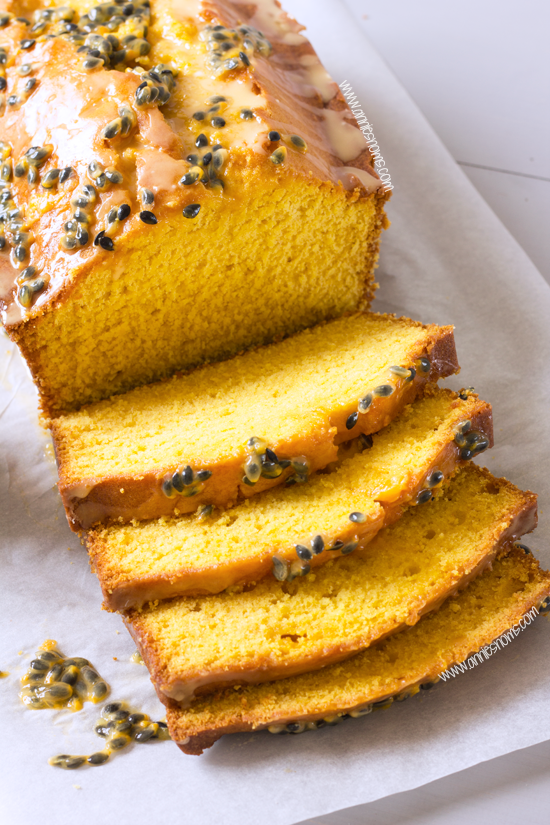 Mango Loaf Cake with Passion Fruit Glaze