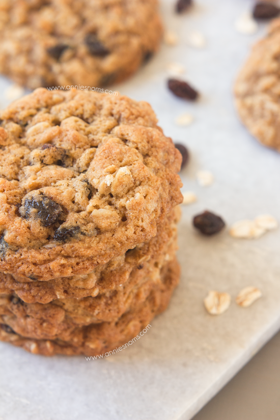 Oatmeal Raisin Cookies | Annie's Noms - Soft, chewy, packed with oats, juicy raisins and made with three types of flour, these cookies stay perfectly soft for days - if they last that long!