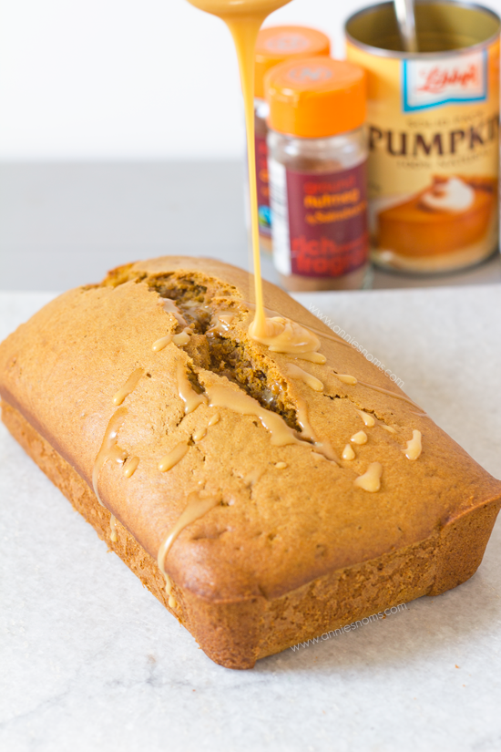 Pumpkin Bread with Salted Caramel Glaze | Annie's Noms - This Pumpkin ...