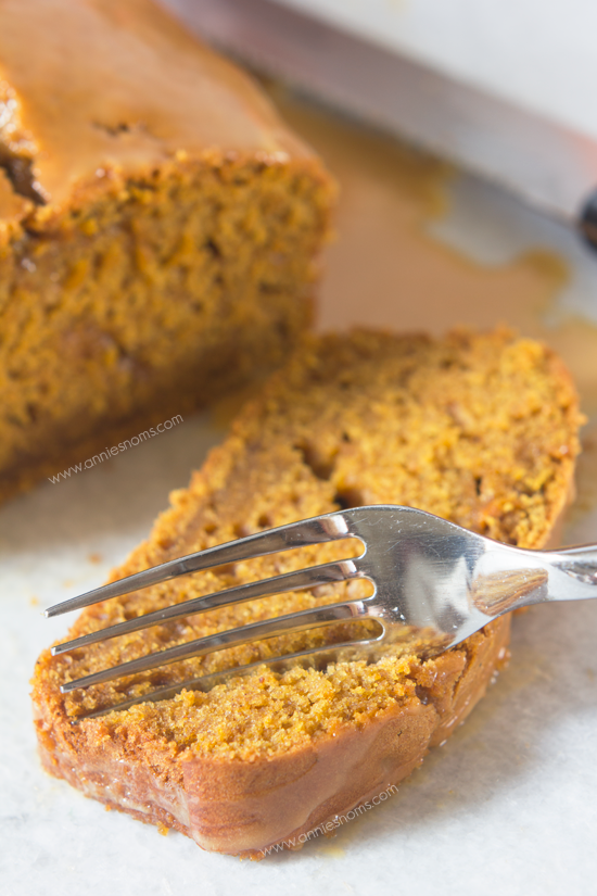 Pumpkin Bread with Salted Caramel Glaze | Annie's Noms - This Pumpkin Bread with Salted Caramel Glaze is sure to become a family favourite! Soft, tender and almost fudgy, the lightly spiced bread is perfectly complimented by the salty, sweet glaze.