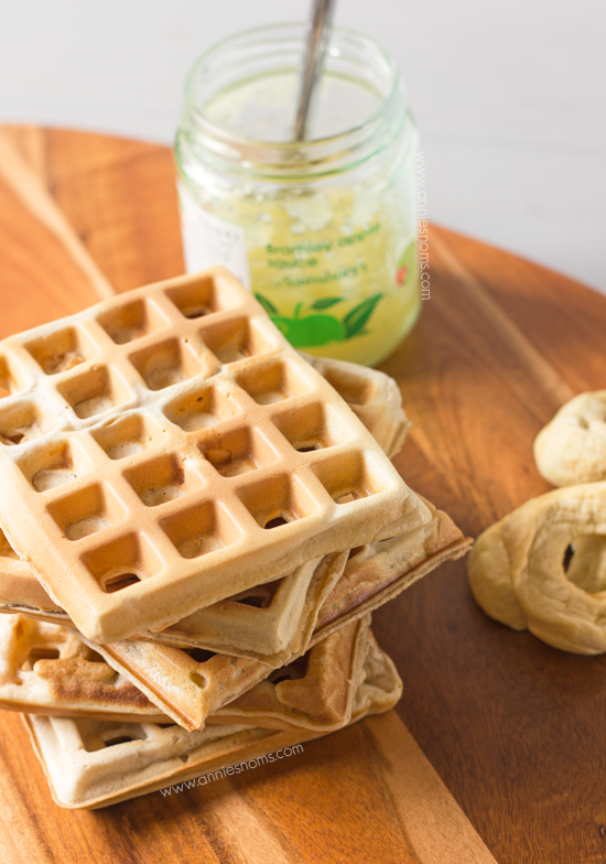 Apple Spice Waffles with Spiced Applesauce - These waffles combine a myriad of spices with chunks of dried apple to make a decadent breakfast, which tastes like hearty slices of apple pie!