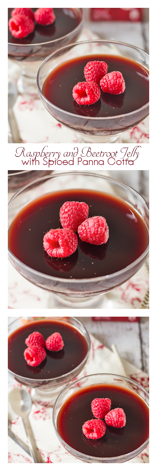 A layer of lightly spiced, creamy Panna Cotta topped with a homemade Raspberry and Beetroot Jelly makes this a simple, but festive dessert. Just perfect for Christmas!