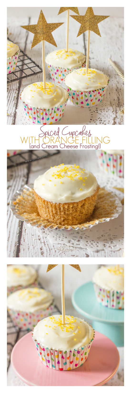 These soft, spiced cupcakes, contrast with their citrusy, sweet orange filling perfectly. And are finished off with cream cheese frosting and sprinkles!