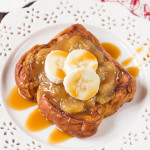 My Banana Caramel French Toast is super easy to make as it uses store bought caramel sauce to caramelize the bananas! The sweet, sticky caramel mix is then put on to crisp, fried Brioche to create a decadent breakfast!