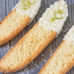 This Lime Biscotti has flakes of coconut inside it and is then dipped in melted white chocolate before being covered in more coconut flakes. Easy to make and the perfect accompaniment to your afternoon coffee!