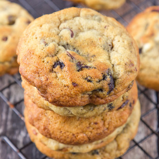 These Cherry Triple Chocolate Chip Cookies are packed with white, milk AND dark chocolate chips and also have gorgeous, juicy Morello cherries in