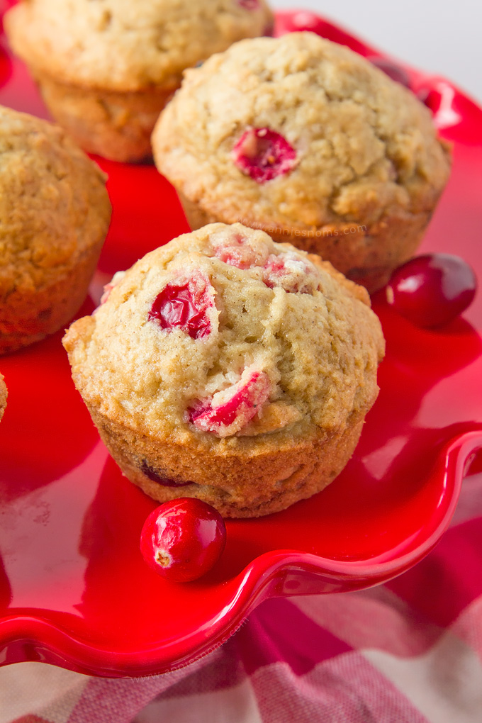 These soft, sweet Eggnog and Cranberry muffins are made with homemade Eggnog, fresh cranberries and plenty of nutmeg to create the perfect Christmas breakfast treat!