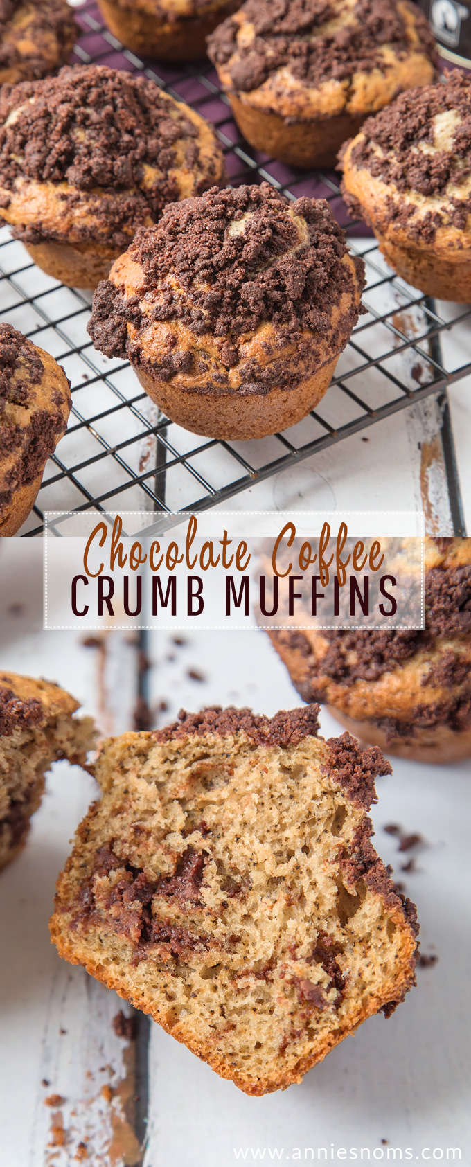 Hearty Chocolate Coffee Crumb Muffins filled with oozing chocolate, flecks of Espresso and topped with a cocoa crumb; scrumptious AND easy to make! #ad #fairtradefortnight