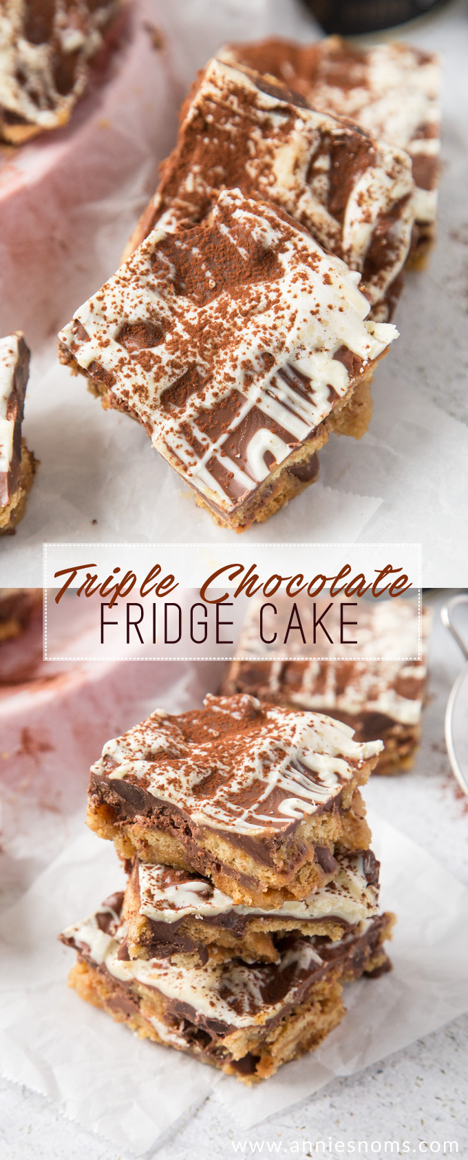 This rich, chocolate filled Fridge Cake is a simple, no bake dessert with a ton of flavour and a sweet, crunchy base.