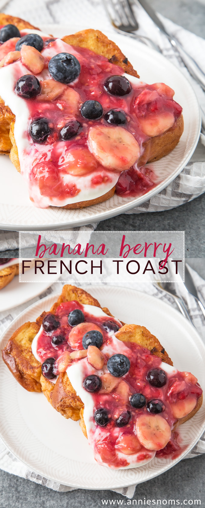 Golden French Toast is topped with a beautiful Banana Berry mixture that takes this breakfast to another level.