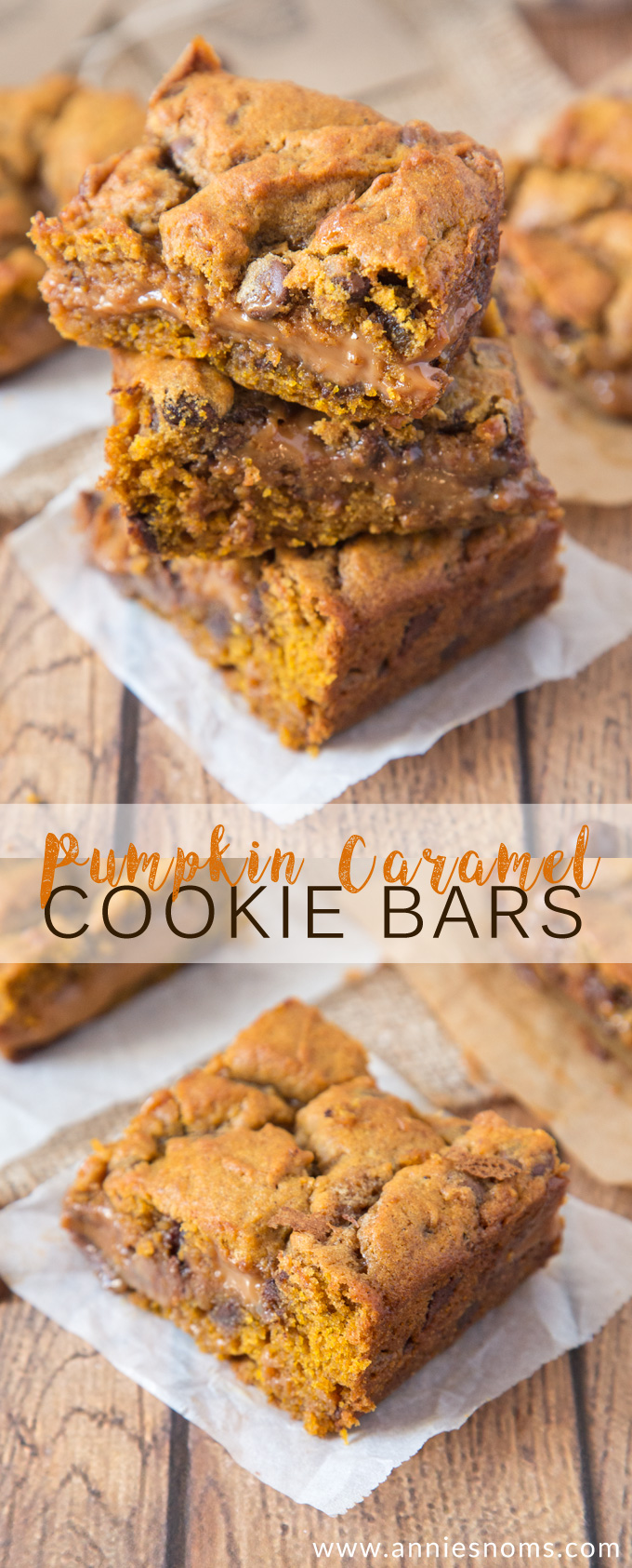 These Pumpkin Caramel Cookie Bars are sinfully good! Chewy Pumpkin cookie dough layered with thick caramel and cut into squares; you'll not be able to say no to them!