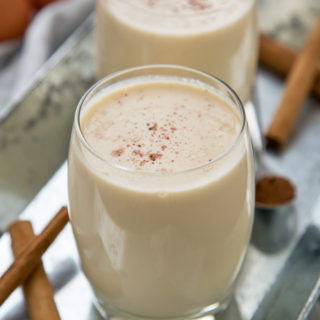 My homemade eggnog is thick and creamy and completely alcohol free for those of us who are teetotal this festive period!
