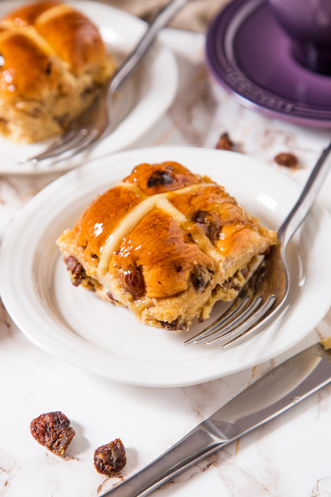Got leftover Hot Cross Buns from Easter? Then this Hot Cross Bun Bread Pudding is the perfect, sweet and spicy dessert to use them up!