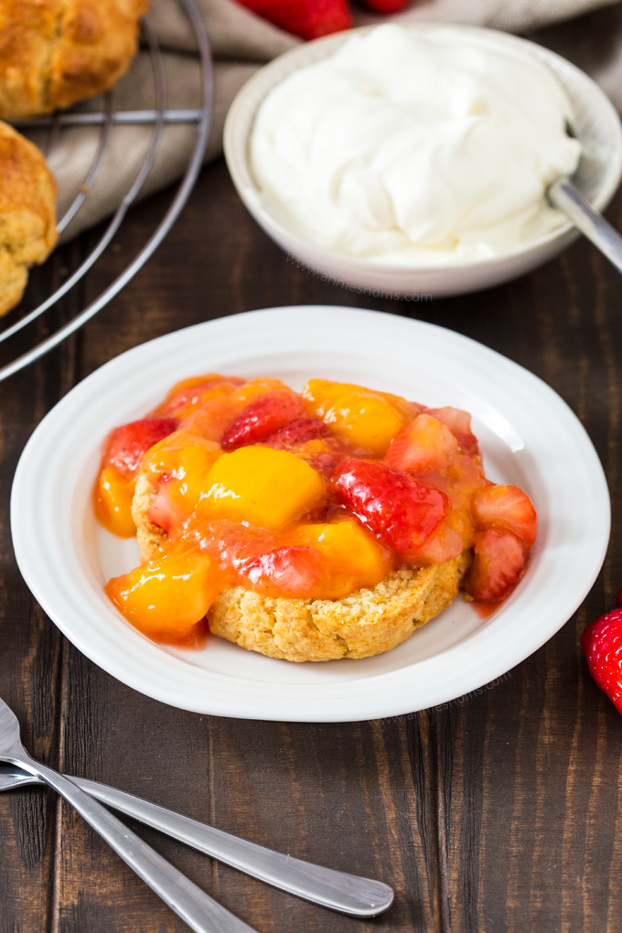 A twist on the classic, these Strawberry and Mango Shortcakes have a taste of the tropics with added chunks of mango in amongst strawberries and sweetened cream.