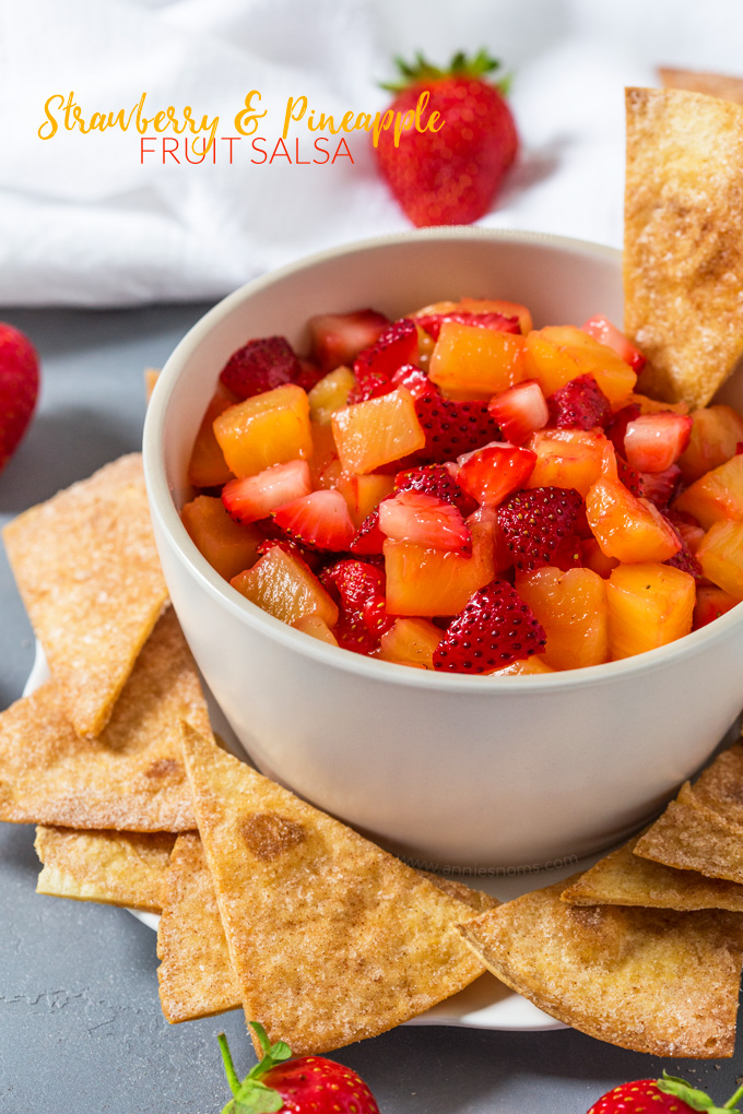 Sweet strawberries and tropical pineapple married together with a little sugar and lemon juice make this fruit salsa a delight for your taste buds.