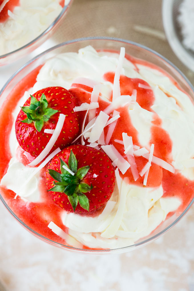 These Strawberry and White Chocolate Fools are made up of sweetened cream, a fresh strawberry purée and flakes of white chocolate! The best bit? They're ready in under 10 minutes!