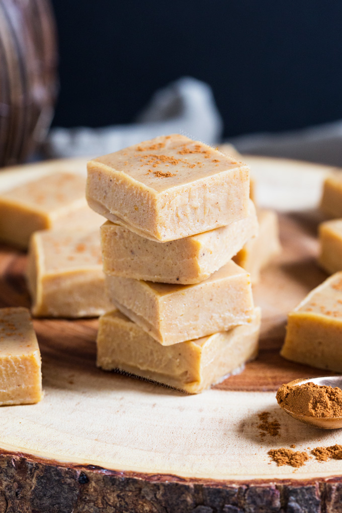 My Pumpkin Spice Fudge is out of this world amazing. Spicy, sweet and with just a hint of pumpkin purée, you don't even need a candy thermometer to make it!