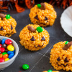 These cute little Pumpkin Rice Krispie Treats are kid friendly and so easy to make! The perfect little Halloween treats for adults and kids alike!