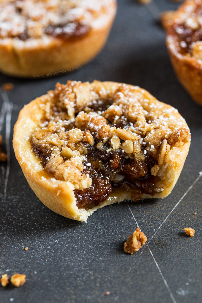A new twist on the classic Mince Pies, these festive pies have a crunchy, oat topping to contrast with the juicy, sweet filling and crisp homemade pastry outer shell.