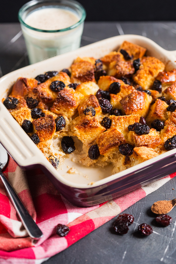 This Eggnog and Cranberry French Toast Bake is the perfect festive brunch recipe; easy to prepare and utterly divine, you are bound to fall in love with the sweet, spicy and cranberry filled recipe!