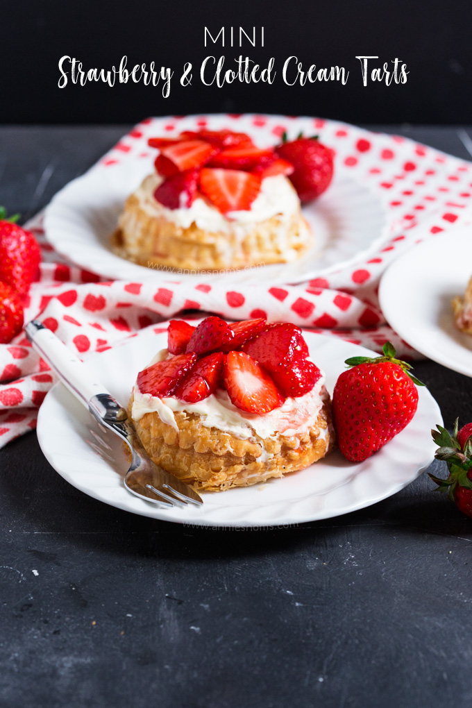 These ridiculously easy Strawberry and Clotted Cream Tarts are ready in under an hour and marry together, flaky puff pastry, sweet strawberries and thick, vanilla flavoured clotted cream; the perfect summer dessert!