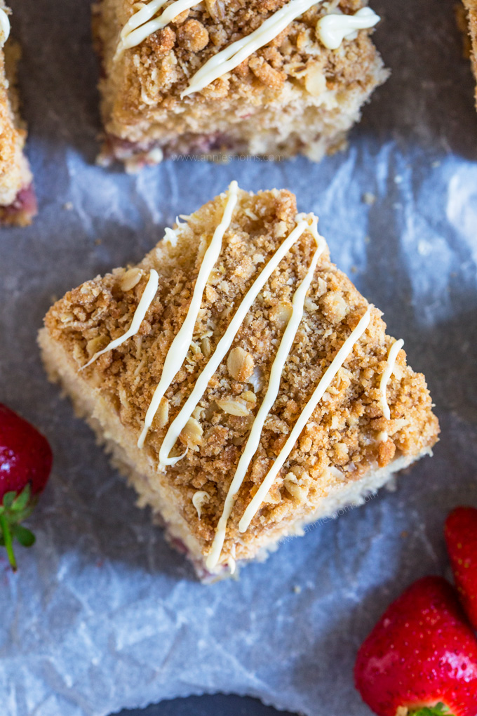 This Strawberry and Lemon Coffee Cake is soft, zingy and filled with juicy strawberries. With its crunchy crumb topping, this is one seriously delicious accompaniment to your coffee!