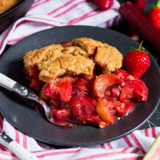Strawberry and Rhubarb Cobbler