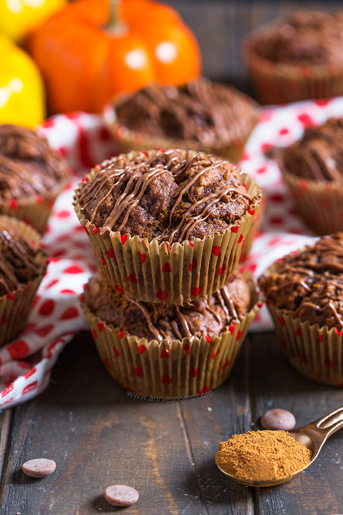 These hearty Chocolate Pumpkin Muffins are the perfect way to start your day. Lightly spiced and filled with melty chocolate chips, they are simply delicious!