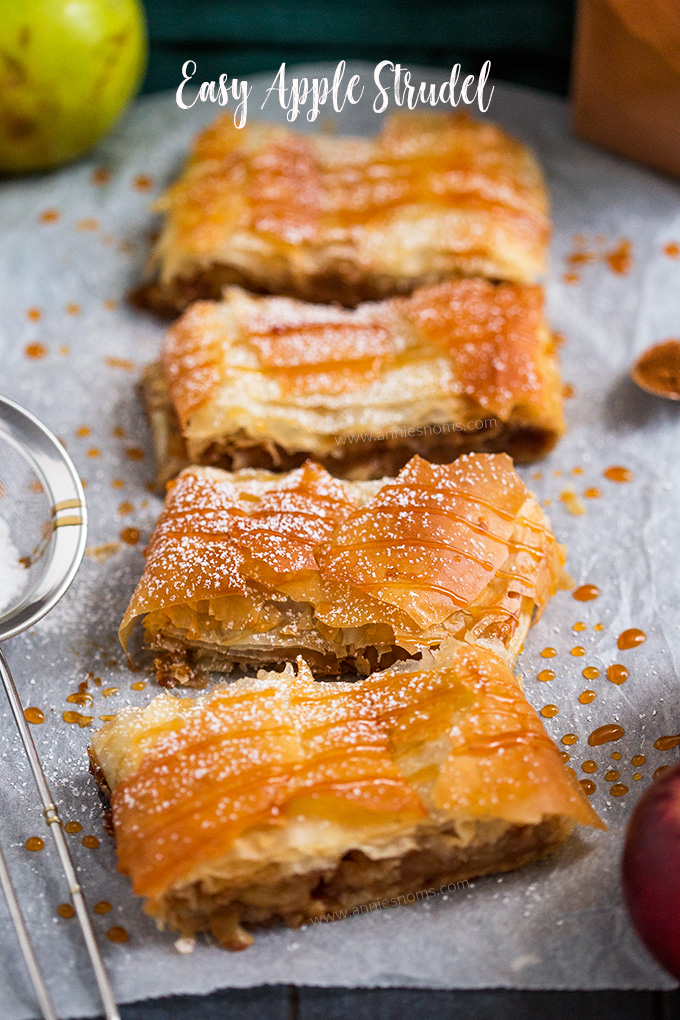 This quick and easy Apple Strudel is made with sheets of ready made filo pastry and filled with a spicy, sweet apple mixture. From prep to table in under an hour, this is perfect for feeding a crowd!