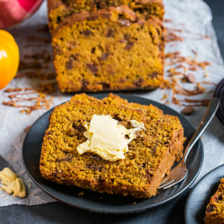 This easy to make Pumpkin Chocolate Chip Bread is spicy, sweet and filled with gooey chocolate chips. Perfect for coffee breaks, breakfast or dessert, you'll make this bread again and again!