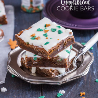 These soft and chewy Gingerbread Cookie Bars are topped with lashings of sweet cream cheese frosting and Christmas sprinkles. An easy, kid friendly festive bake you will make again and again!