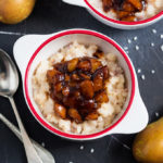 This creamy baked rice pudding is topped with a homemade spiced pear compote to create one seriously tasty, throw it all together dessert!