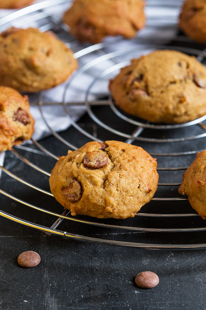 These Banana Chocolate Chip Cookies taste just like banana bread, but in cookie form! No fancy equipment to make and ready in under 30 mins!