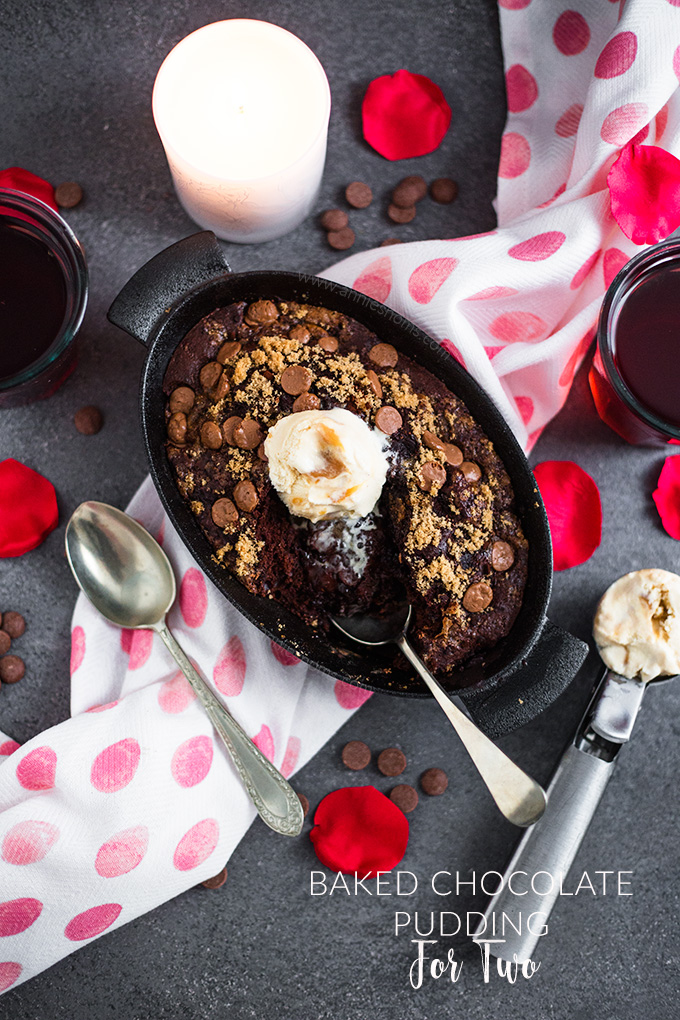 A rich and gooey Baked Chocolate Pudding sized down for you and a loved one. It's easy, quick to make and perfect for a last minute Valentine's dessert!