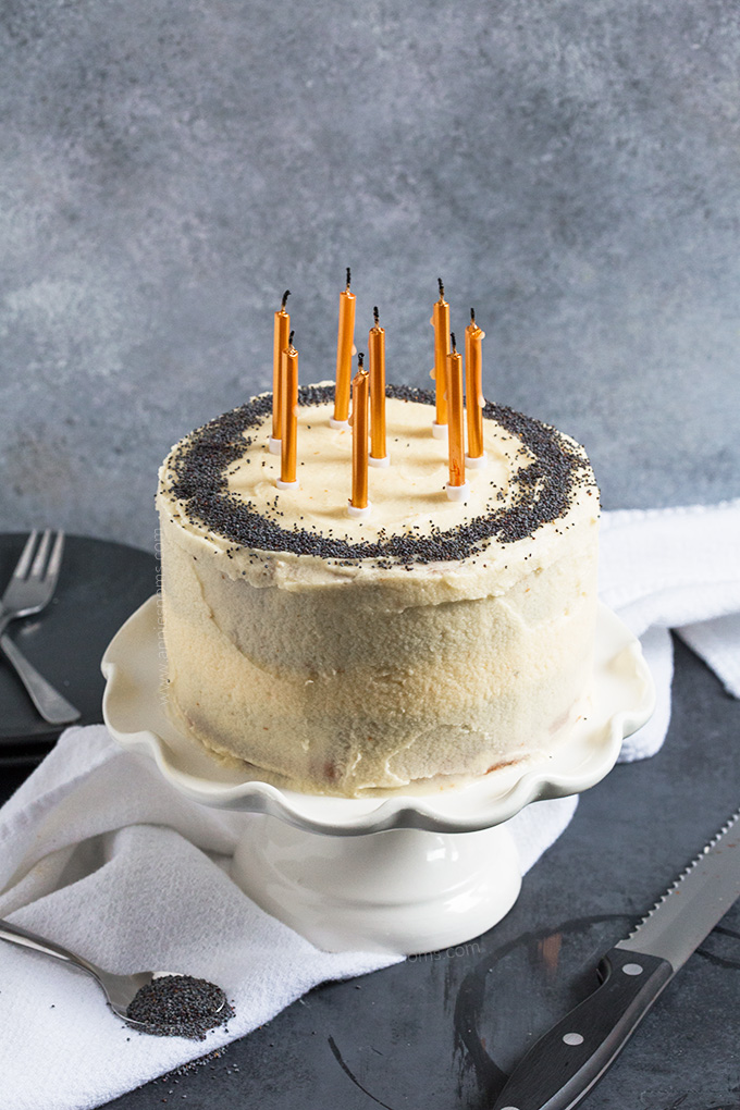 This light and tender Vanilla Poppy Seed Cake is simple to make and decorate! Perfect for birthdays and smaller crowds as it's sized down for 6!