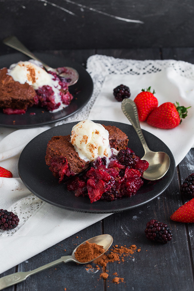 A twist on the classic cobbler, this Chocolate Mixed Berry Cobbler is full of flavour with a myriad of Summer berries and a rich chocolate topping.