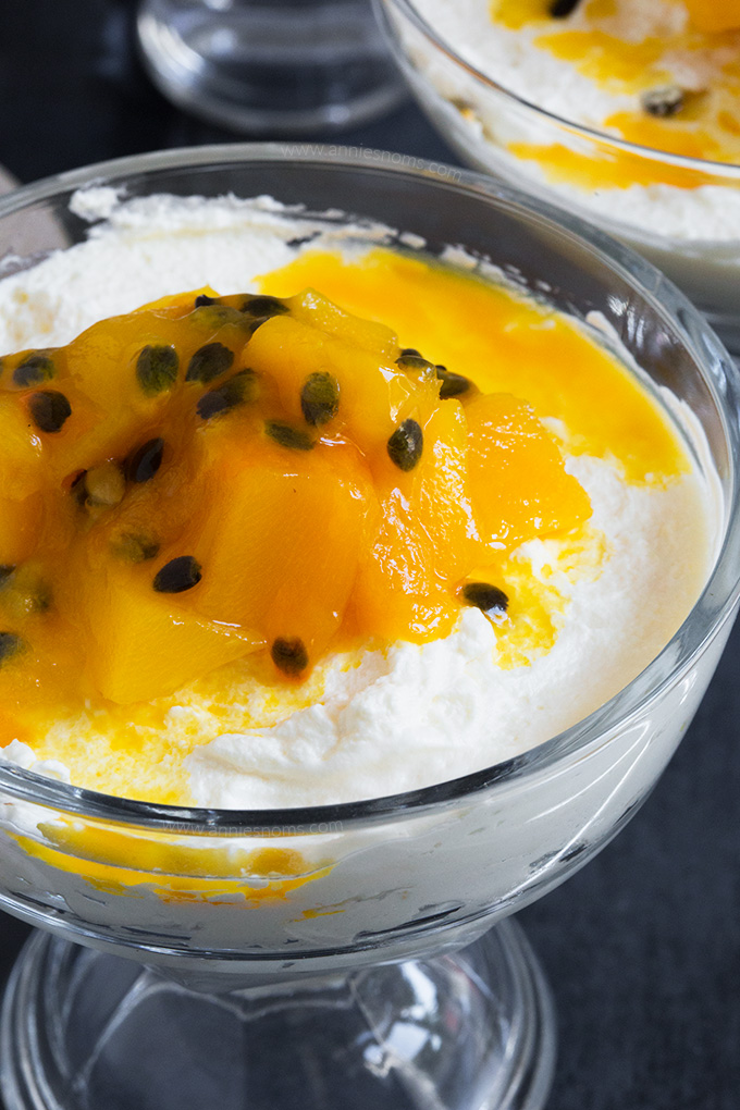 This Mango and Passion Fruit Mousse only requires four ingredient and 5 minutes to make. It's light, sweet, fruity and perfect for Summer!