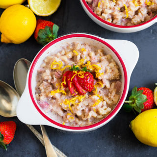 This Strawberry and Lemon Rice Pudding is the perfect comfort food for Summer! Light, sweet and with bursts of real strawberries, you'll make this again and again!