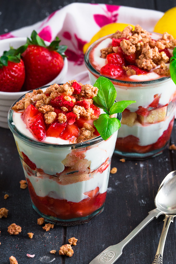 This easy, no bake Strawberry and Lemon Parfaits are ready in 5 minutes, perfect for breakfast or a quick treat and are full of amazing flavours!