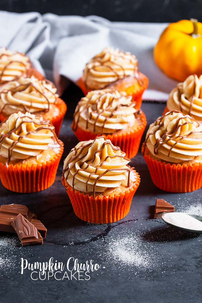 A soft spiced cupcake, cinnamon sugar top, cinnamon frosting and a drizzle of melted chocolate make these Pumpkin Churro Cupcakes irresistible and perfect for Autumn!