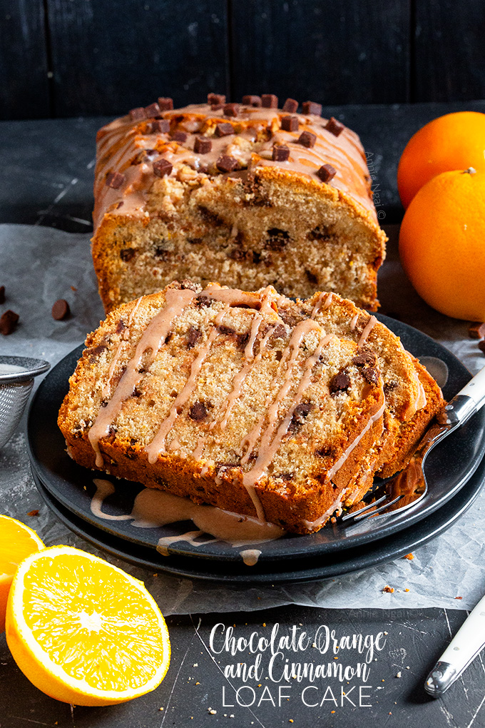 Spicy cinnamon, chocolate chips and orange zest marry together to make my seriously delicious Chocolate Orange and Cinnamon Loaf Cake. The perfect, easy festive bake!