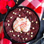 This Red Velvet Cookie is sized down for two, just in time for Valentine's Day and is chewy, chocolate filled and full of flavour!
