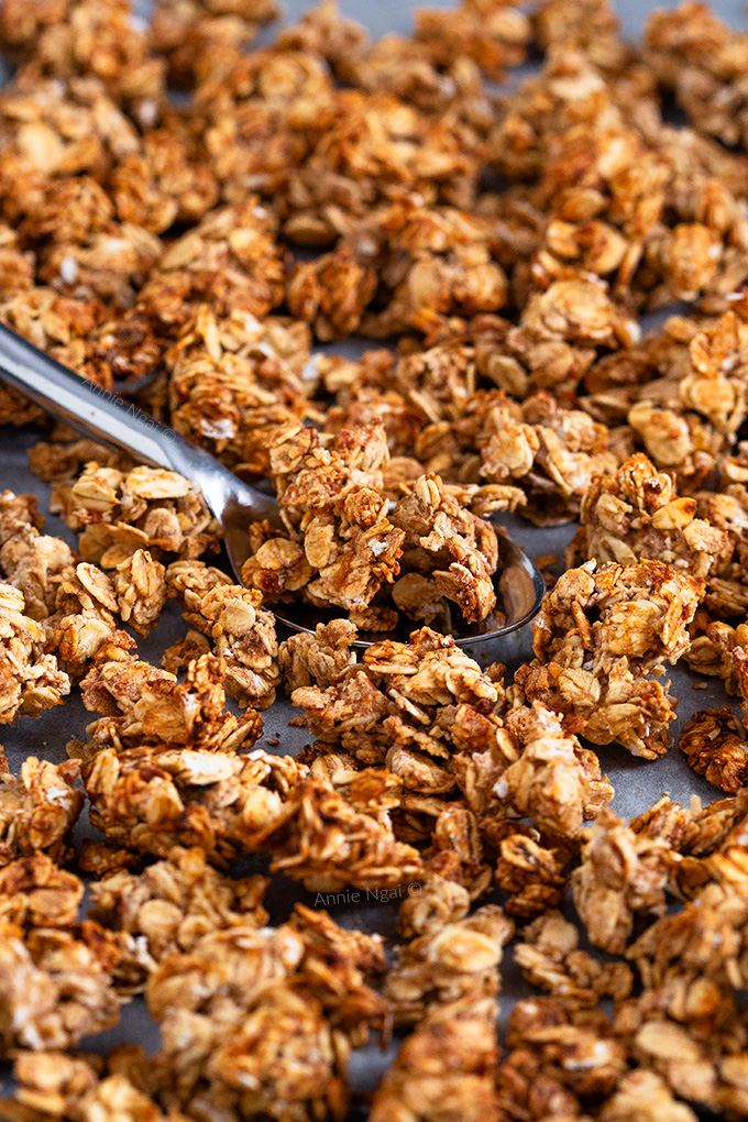 This Banana Bread Granola is the perfect thing to make when you need to use up over ripe bananas. It's also nut and sugar free, but still delicious!