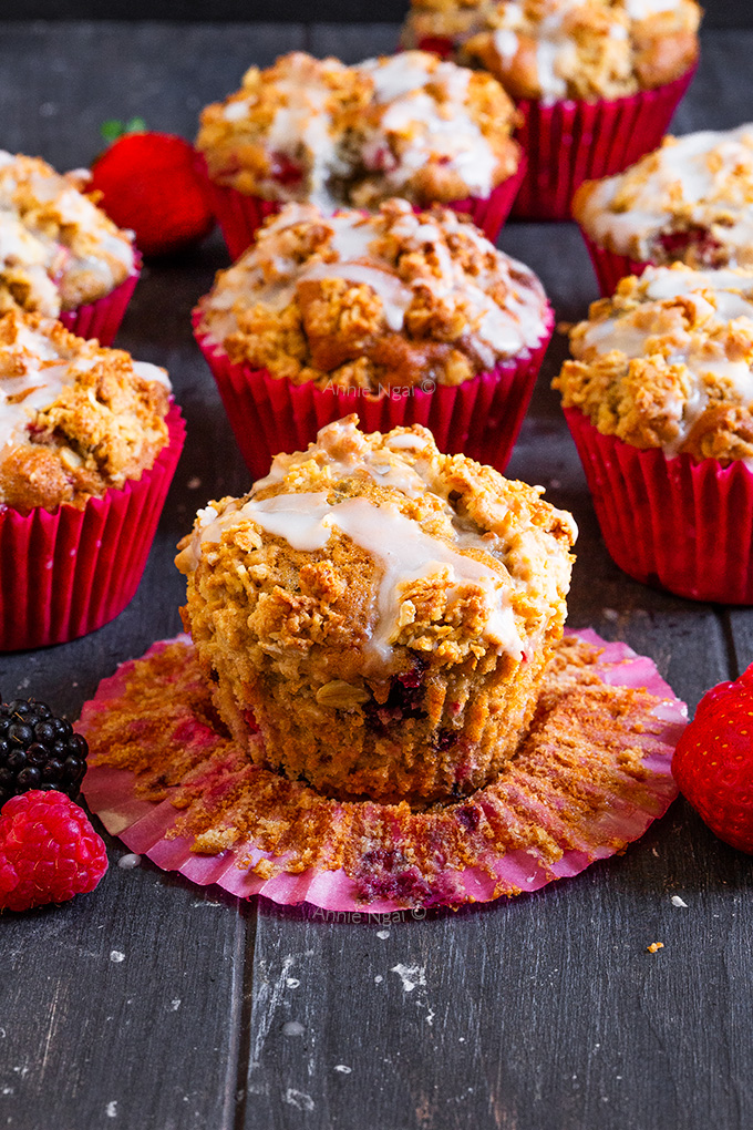 These Mixed Berry Streusel Muffins are delicious and easy to make. Soft, sweet muffins are peppered with bursts of fresh fruit and topped with a crunchy oat mixture to make the perfect muffin!
