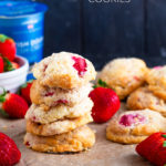 These Strawberry Shortcake Cookies are a hybrid between a shortcake and cookie. Made with cream, sugar and fresh strawberries, these are simple, quick to make and satisfying!