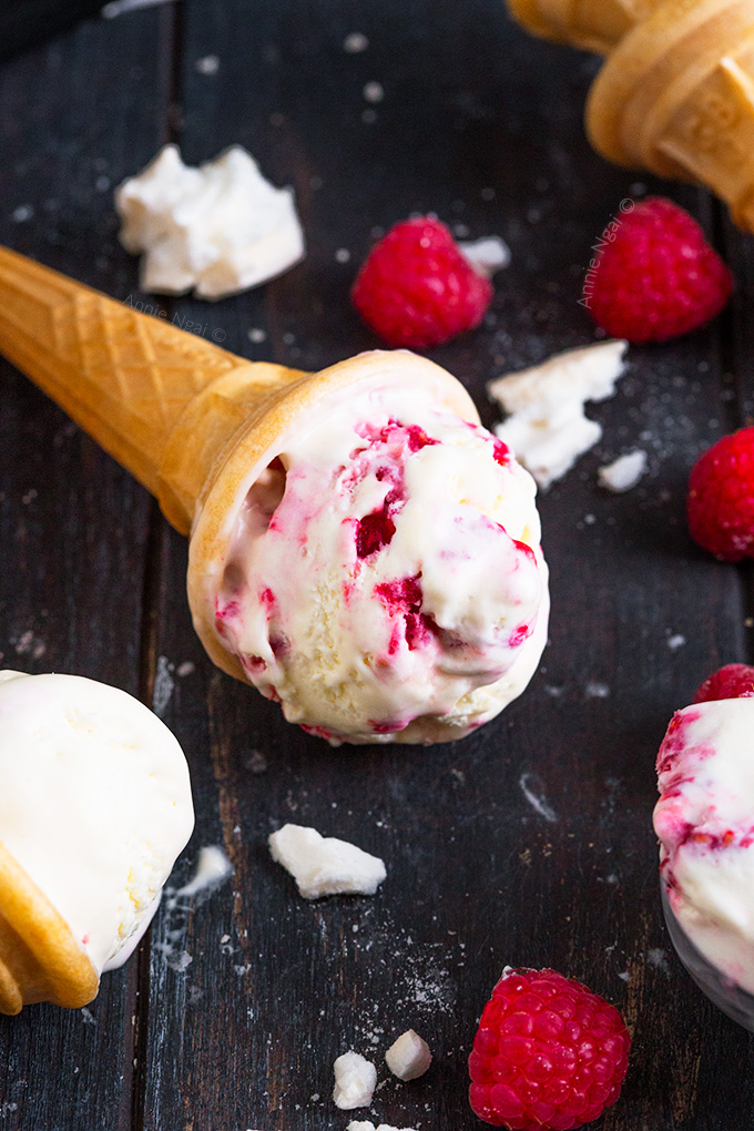 This no churn Raspberry Pavlova Ice Cream is so simple to make, yet utterly divine. Creamy, fruit filled and sprinkled with meringue pieces, it's the perfect Summer treat!