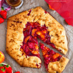 This Strawberry Peach Galette is super easy to make and tastes delicious. Full of sweet, juicy fruit and encased in buttery pastry, it's the easiest type of pie you can make!