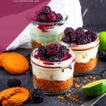 These Blackberry Lime Cheesecake Jars are no bake and quick to make. Gingernut biscuits make the base along with a mascarpone cheesecake filling. All finished off wih glossy blackberries.
