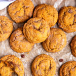 These Pumpkin Chocolate Chip Snickerdoodles are the perfect Autumn cookie made with spices, pumpkin and milk chocolate chips!